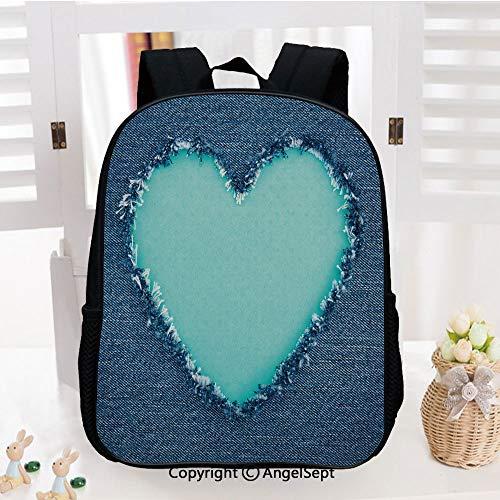 Preschool Backpack for Kids Girls Toddler,Ripped Denim Jean Fabric Image Heart Shape Love Romance Valentines Day Decorative Kindergarten School Bookbags,Navy Blue Seafoam
