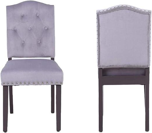 PS Global Lot de 2 chaises de salle à manger en velours avec dossier à  boutons, chromé, pour cuisine, salle à manger, maison, pieds peints en  satin, ...
