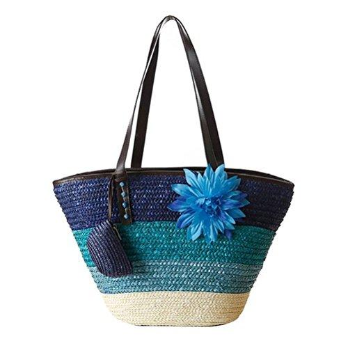 Donalworld Women Straw Handbag Stripe Woven Summer Beach Bags Flower Tote Blue ()