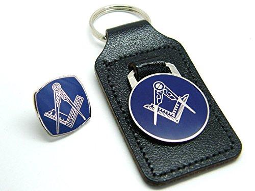 Leather Keychains Masonic Regalia Blue Enamel and Badge Set