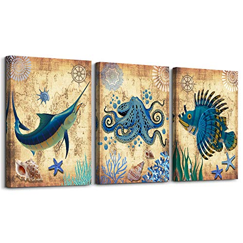 Blue Marine Theme Animal Octopus Canvas Wall Art for Living Room,Wall Decorations for Bedroom,Bathroom Wall Decor 3 Panels Wall Painting Watercolor,Home Decoration Kitchen Canvas Print Artwork Fish (Art Living Large Room)