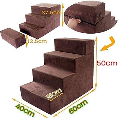Escaleras para Mascotas para Cama Alta 4 escalones, tapadera Lavable, Taburete con peldaños para Perros, sofá Cama, Ajuste de Altura: Amazon.es: Hogar
