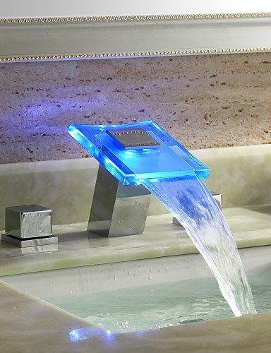 LED zWei?Griffe Chrom-Finish Wasserkraftwerk Wasserfa?l Waschbecken Wasserhahn