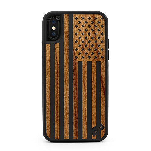 (CaseYard iPhone X/Xs Case, Premium Hybrid Protective, Made in California (Reg-Protective) (Black) American Flag)