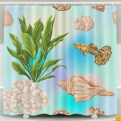 Musesh Fabric Shower Curtain,Kids Shower Accessories, 78x72 Inch Shower Curtain Home Decoration Set with Hooks Sea World Pattern Background Fish Corals Shells Blue Sea Stock
