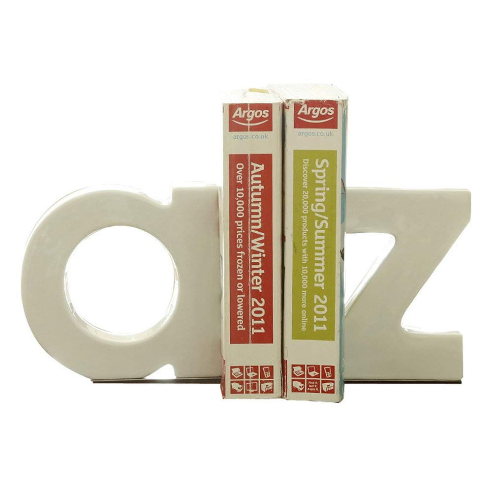 Dygzh Bookend Stainless Steel Bookends Art Students and Teachers Gift One Pair of Heavy-Duty Non-Slip Ceramic Bookends Letter Multi-Function Bookend (Color, Size : 18.7x4x16cm) by Dygzh