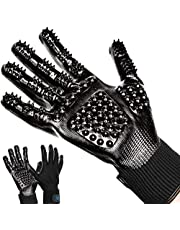 Pacific Husky Pair Of Pet Grooming Gloves - Gentle Deshedding Brush Glove with Soft Rounded Nubs & Adjustable Wrist Strap – Flexible Mitts For Deshedding, Bathing, Massaging & Hair Removal (Black - Navy Blue) (M, Black)