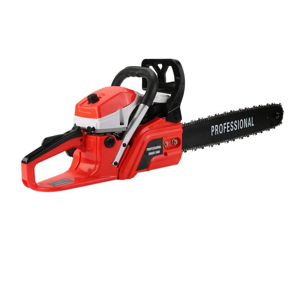 Soberbar Gas Chainsaw Professional Petrol Chain Saw 18'' 52CC 2 Cycle with Double Spring STE-5800 for Tree Pruning Clearing Land Preparing Firewood(Red&White)
