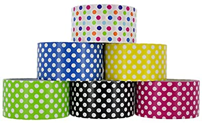 RAM-PRO Polka Dot Series Heavy-Duty Duct Tape | Assorted Fluorescent Colors Pack of 6 Rolls, 1.88-inch x 5 Yard – Colors Included: Black, Yellow, Pink, White, Green & Blue.