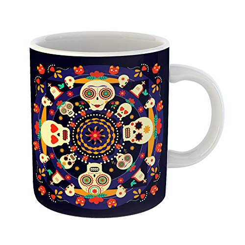 Emvency Coffee Tea Mug Gift 11 Ounces Funny Ceramic Mexican Celebration Happy Sugar Skulls Traditional Flower in Modern Flat Color Gifts For Family Friends Coworkers Boss -