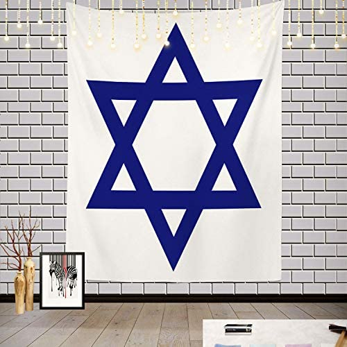 Batmerry Star Blue White Flag Tapestry, Shields of David Picnic Mat Hippie Trippy Tapestry Wall Art Meditation Decor for Bedroom Living Room Dorm, 82.7 x 59.1 Inches, Blue White 2