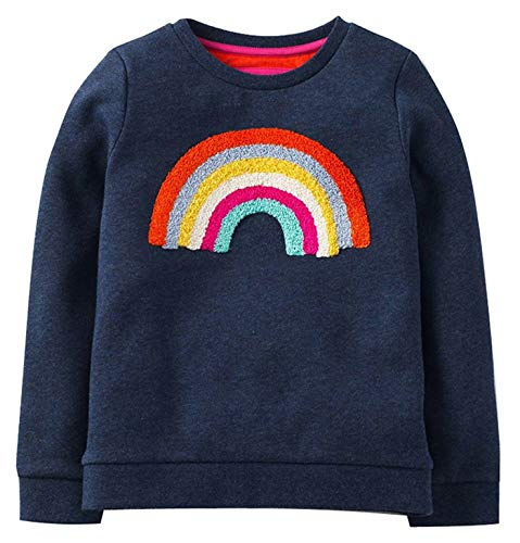 GSVIBK Girls Cotton Sweatshirts Crewneck Pullover Cartoon Shirts Long Sleeve Cute Sweatshirt Little Girl Rainbow 3-4Years 204