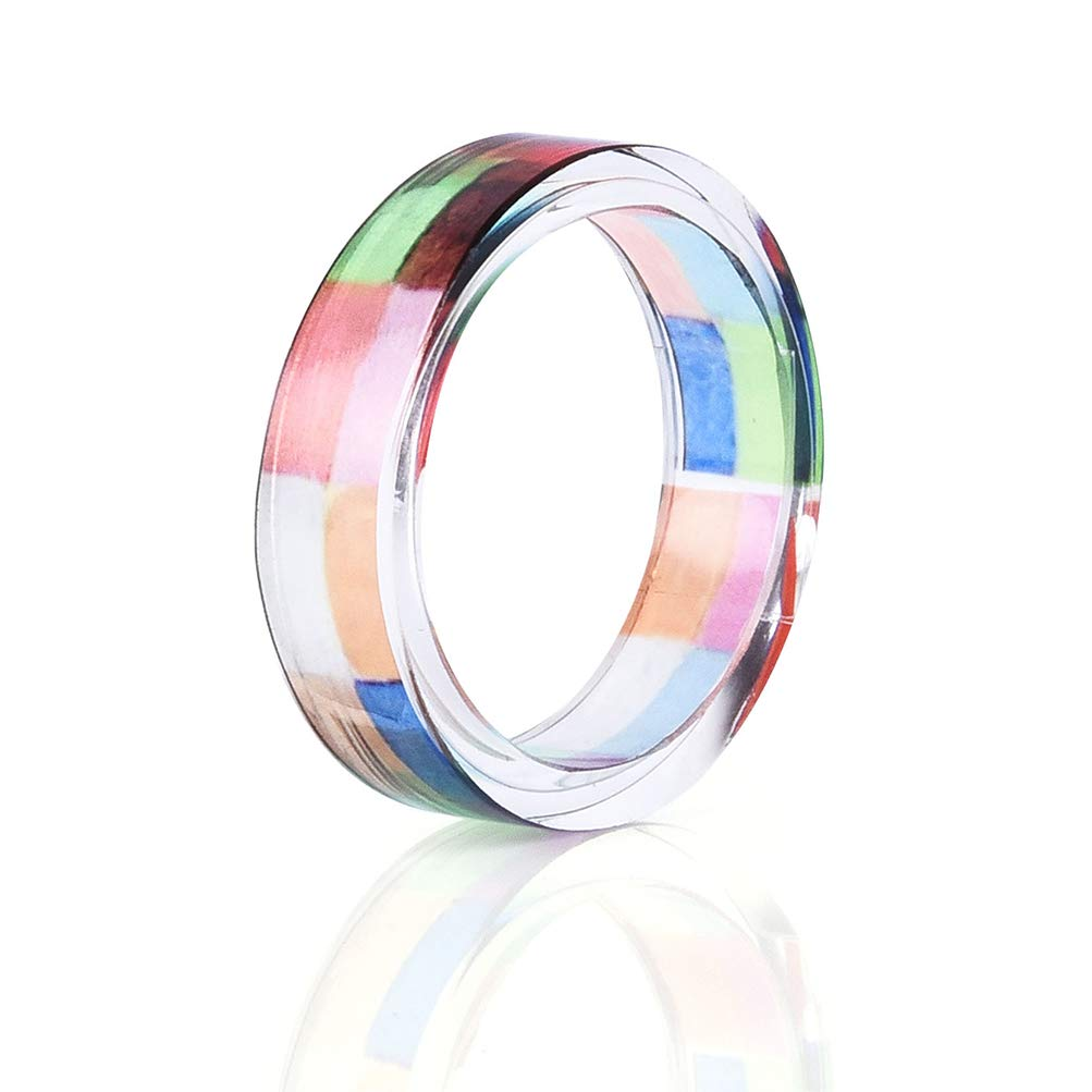 Leweil Multicolor Resin Band Ring for Women Daily