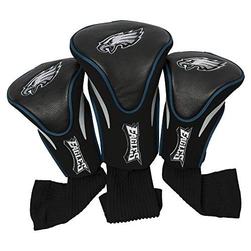 Team Golf NFL Philadelphia Eagles Contour Golf Club Headcovers (3 Count), Numbered 1, 3, & X, Fits Oversized Drivers, Utility, Rescue & Fairway Clubs, Velour lined for Extra Club Protection (Renewed) ()