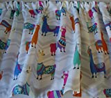 Cheap Valance Llama Print on Gray and White Chevron Background Bright Colors Window Treatment Topper Custom Made
