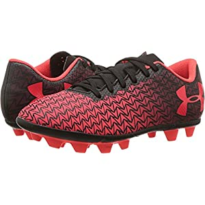 Under Armour Boys CF Force 3.0 FG-R Jr Soccer Cleat, Black/Black/Neon Coral, 1