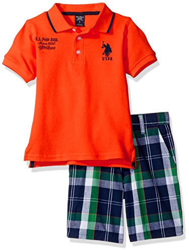 Polo Plaid Shorts (U.S. Polo Assn. Little Boys' Embellished Pique Polo Shirt Short, Plaid, 5/6)