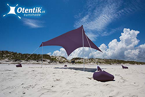 Otentik Beach Sunshade Sandbag Anchors - The Original Sunshade Since 2011 (Eggplant, Large 8.5 x 9 ft 6.5 ft Tall - up to 7 People)
