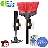 round broom - 2pcs Adhesive Mop Broom Holder Round Base Rack Hanging Hook Storage with 11 lbs Max Load for Kitchen Tool Cabinet Bathroom Closet Garden - Easy Installation with Adhesive and E-book Included