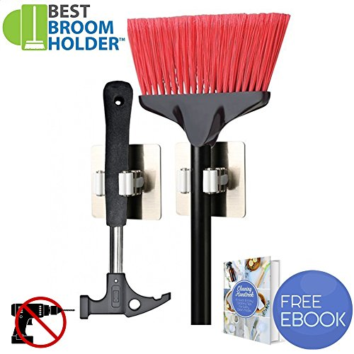 2pcs Adhesive Mop Broom Holder Rack Hanging Hook Storage with 11 lbs Max Load for Kitchen Tool Cabinet Bathroom Closet Garden - Easy Installation with Adhesive and E-book Included by Best Broom Holder