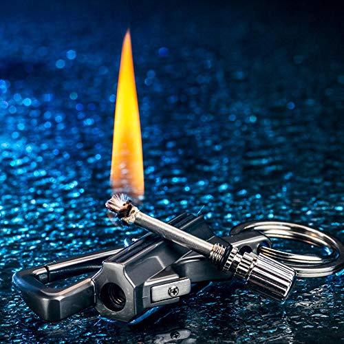 Volwco Keychain Lighter Cigar Lighter,Multifunction Lighter with Bottle Opener,Matchstick Fire Starter,Keychain,Kerosene Fillable,EDC Gear Key Tool for Men,Women (Keychain Bottle Opener Lighter)