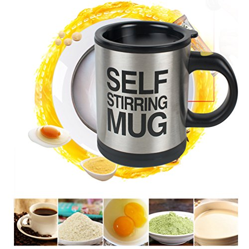 Vinmax Automatic Mixing Coffee Self Stirring Mug Cup with Lid, Black,Electric Stainless Steel, Best for Morning, Travelling, Home, Office, Men and Women mixing car cup,