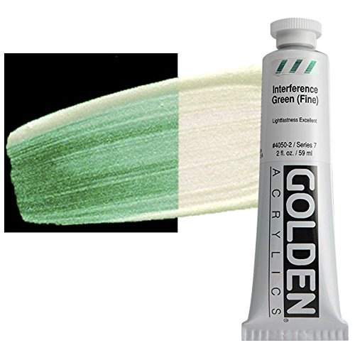 Golden Artist Colors,2 Oz Heavy Body Iridescent Color Acrylic Paint,Interference Green (fine)
