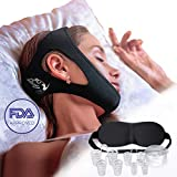 Sleepy Cat Set of Anti Snoring Chin Strap Nose Vents and Eye Mask, Snoring Solution, Adjustable and Flexible for Sleeping for Men Women black