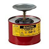 "Justrite 10208 2 Quart, 7.25"" H, 7 3/8"" O.D, Premium Coated Steel Plunger Can with Brass and Ryton Pump Assembly"