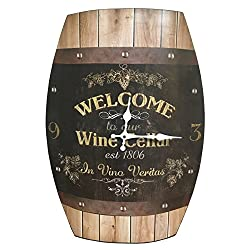 Clock Wine Barrel Look 20x15 inches Concave Wine Barrel Shape Wine Cellar Rustic Design