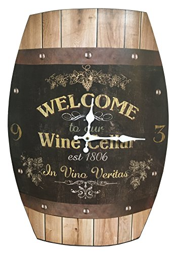(HDC International Clock Wine Barrel Look 20x15 inches Concave Wine Barrel Shape Wine Cellar Rustic Design)
