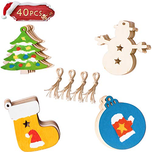 Christmas Kid Crafts - 40PCS Christmas DIY Ornaments, Unfinished Wood Ornament