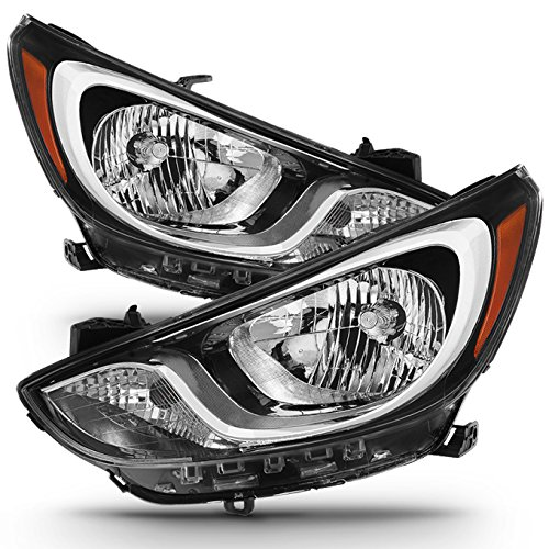 (For [Factory Halogen Model] 2012 2013 2014 Hyundai Accent RB Headlight Lamp Direct Replacement Assembly Left + Right)