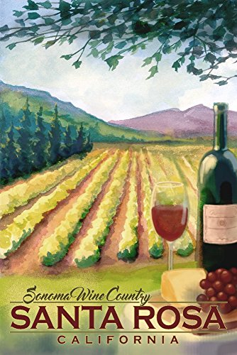 Santa Rosa, California - Sonoma County Wine Country (9x12 Art Print, Wall Decor Travel Poster) ()