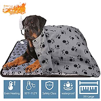 2in1 Huge Pet Heat Pad Set for Dogs Cats Extra+ Large 32.67''x24.01'', Warm Blanket Pet Electric Heating Dogs and Cats Indoor Warming Mat Waterproof Chew Resistant