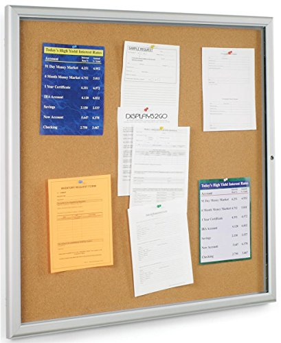 Displays2go Indoor Large Corkboard 38-3/4 x 38-3/4 Inches Satin Finished Aluminum Frame and Polystyrene Door Tack Board Display with 36 x 36 Inches Posting Area (CKSBTW3636) (Satin Frame Indoor Aluminum)