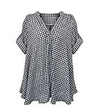 LIZHOUMIL Women's Black White Plaid Grid Checked Casual Plus Size Shirt black&white grid XX-Large