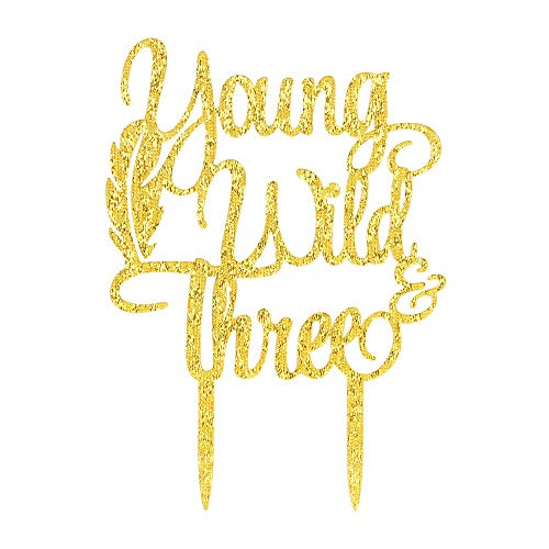 (Gold Young Wild & Three Cake Topper Happy 3rd Birthday,Third Birthday Theme Party Decoration Supplies(Acrylic))