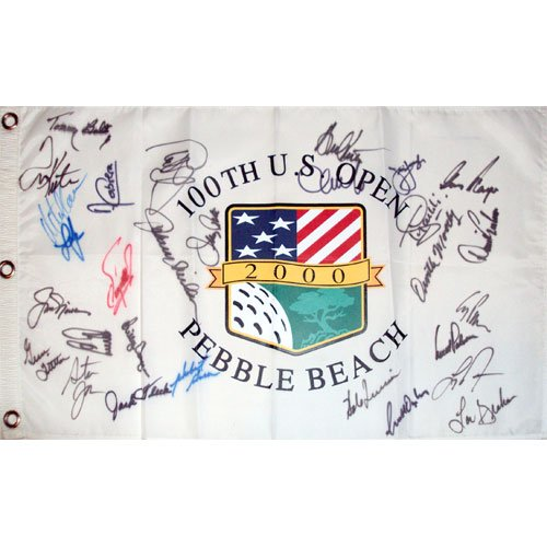 2000 US Open (Pebble Beach) Golf Pin Flag Autographed by 29 Former Champions (Pebble Beach Us Open Flag)