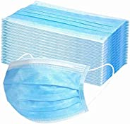 Disposable Face with 3 Layer Filter, 3 Ply Filter Breathable Safety with Elastic Earloop