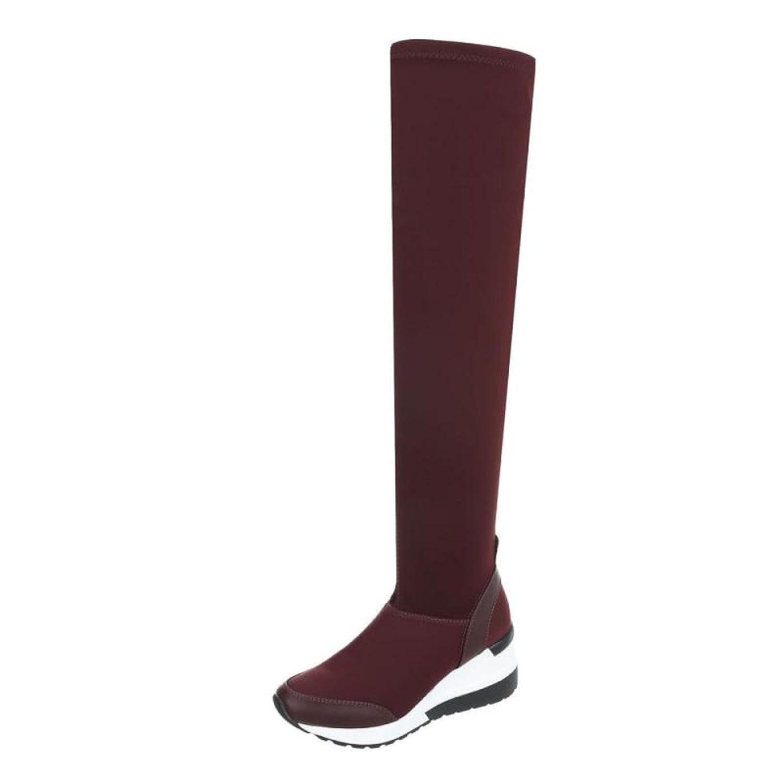 Cingant Woman Damen Overknee Stiefel/Leichte Plateausohle/Damenschuh/Stiefel/Keilabsatz/Weinrot/Rot