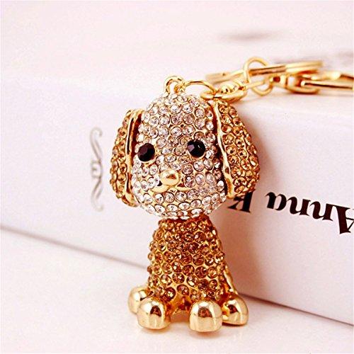 Pekingese Dog Keychain Charm Pendant Handbag Bag Keychain Key Ring (Champagne)