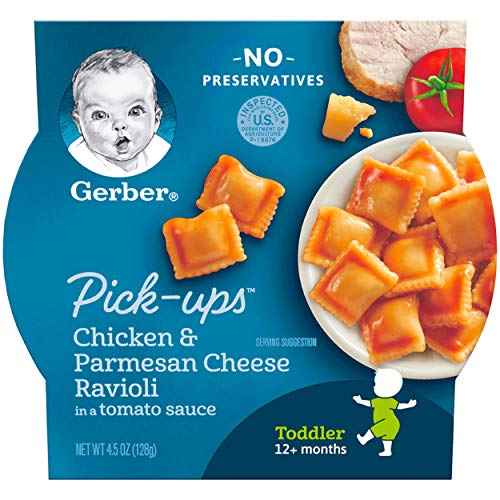 Chicken Pasta Tomatoes - Gerber Graduates Pasta Pick Ups, Chicken and Parmesan Ravioli in Tomato Sauce, 4.5 Ounce (Pack of 8)