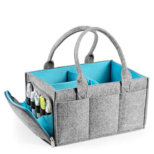 Premium Baby Diaper Caddy Organizer | Portable Nursery Storage Bin | Car Seat Tote with Zipper Pocket & 5mm Heavy Duty Felt by Mollieollie