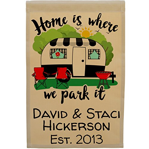 Home is Where We Park It Personalized Campsite Sign Garden Flag, Customize Your Way, Flag Stand Not Included (Black Trim Camper) (Personalized Outdoor Flags)