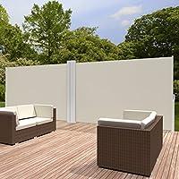 TecTake 800387 Toldo Lateral Doble Separador Retráctil Terraza Protección Jardin de Vivienda y de Base Postes Completo de Aluminio Tamaños (Beige   160x600cm   No. 402333): Amazon.es: Jardín
