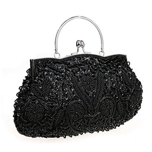 Women's Evening Clutch SNUG STAR Two-sided Lily Beaded Sequin Designer Clutch Handbag (Black Beaded Evening Handbag)