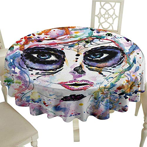 Zodel Dustproof Square Tablecloth Sugar Skull Halloween Girl with Sugar Skull Makeup Watercolor Painting Style Creepy Look and Durable D36 Suitable for picnics,queuing,Family]()