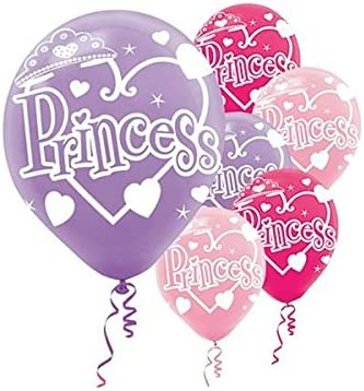 "Princess 12/"" Printed Lilac Light /& Hot Pink Assorted Latex Balloons pack of 6"