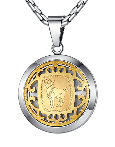 Stainless Steel Aries Zodiac Horoscope Sign Pendant Necklace, Unisex, 21